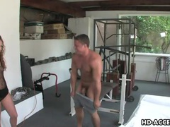 Muscular guy gets a deepthroat blowjob from girl movies at freekiloclips.com
