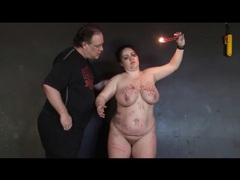 Fat girl likes the hot wax hitting her sexy body videos