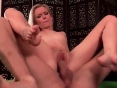 Skinny blonde with a thick cock fucking her cunt videos