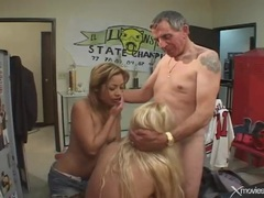 Banging two bitches in the locker room is lusty videos