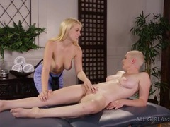 Tender cunt play from her hot blonde masseuse videos