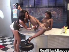 Black lesbian pussy is soaking wet for a toy videos