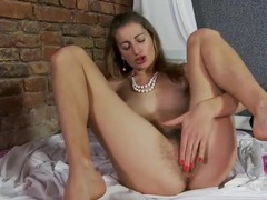 Pubic hair grows all over this solo beauty movies at find-best-lesbians.com