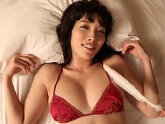 Satin bra hugs her big sexy japanese breasts tubes at lingerie-mania.com