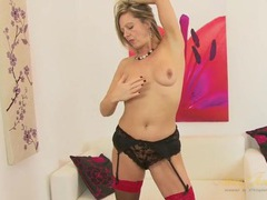 Satin dress and sexy stockings on a hot mature blonde clip
