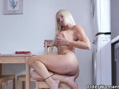 Canadian housewife dani dare rubs one out in the kitchen movies at sgirls.net