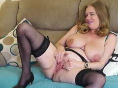 Big natural titties are so sexy on this masturbating mom movies at lingerie-mania.com