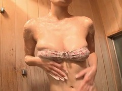 Lean and intensely hot japanese body in a little lingerie set tubes
