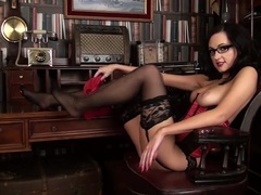 Corset and stockings look so good on a hot nerd videos