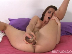 Cici rhodes punishes her pink pussy with brutal dildos tubes