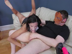 Nasty girl gags as his cock fucks her throat tubes
