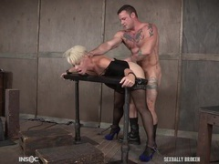 Blonde slave used by two guys with stiff dicks tubes