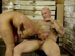 Big tits blonde slut fucked hard by the warehouse worker tubes