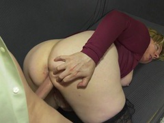 Chubby mature slut in stockings fucks a younger man clip