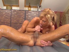 Nathaly cherie gives slippery nuru massage tubes