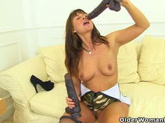English milf lelani gets busy with two giant dildos videos