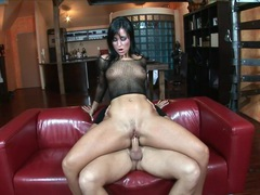 Beautiful black haired slut sucks him good and sits on it videos