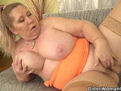 Euro gilf dita works her big breasts and mature pussy tubes