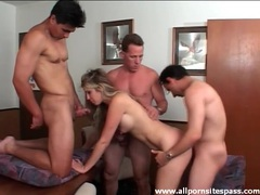 Three guys fuck a hot slut in a gangbang videos