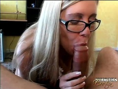 Glasses on skinny girl giving a great blowjob videos