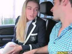Gorgeous blonde schoolgirl sucks cock in car movies at lingerie-mania.com