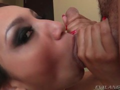 Girl in black blows him to get a facial movies