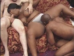 Fat black girl with belly rolls fucked in threesome videos