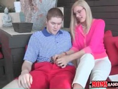 Milf in buttoned up pink sweater sucks young cock movies at sgirls.net