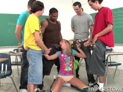 Teen in class sucks dicks in a blowbang movies at sgirls.net