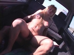 Arousing car sex with a blonde shemale videos