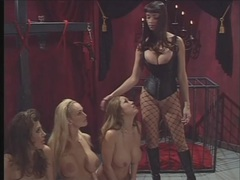 Mistress ties up three big breasted sluts in dungeon videos