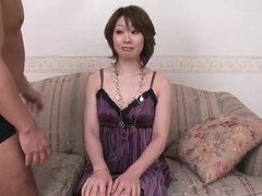 Milf beauty in purple dress groped by two guys videos
