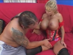 Corset on sultry milf with huge fake tits videos