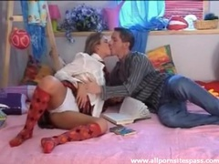 Intense kissing session with his schoolgirl gf movies at freekiloporn.com