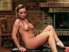 Stripping and teasing chick in front of fireplace movies at sgirls.net