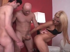Blonde shemale beauty fucked doggystyle in spitroast movies at find-best-babes.com