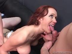 Redhead sucks dick as guys fuck her asshole videos