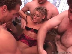Skinny milf filled in hot gangbang video videos