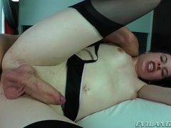 Moaning tranny in black stockings butt fucked movies at sgirls.net