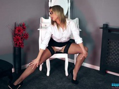 Business beauty in fishnet stockings strips solo movies at freekiloclips.com