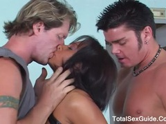 Ebony color haired girl banged by huge cock and get a cum shot on face movies at lingerie-mania.com