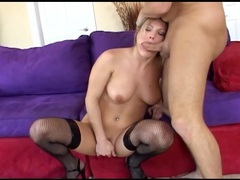 Blonde has kinky anal sex in fishnet stockings movies at adipics.com