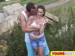 Hot naturally busty girl fucking outdoors videos