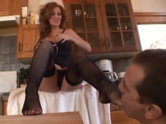 Lustily sucking toes and ripping open her stockings videos