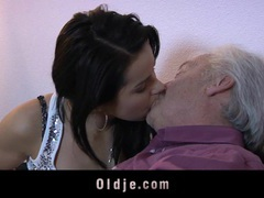 Juicy young brunette and old man have sex movies at kilopills.com