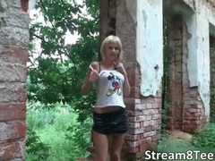 Nasty hot blonde teen babe santana gets nude and nasty outdoor videos