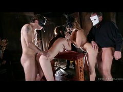 Two masked couples have doggystyle foursome videos
