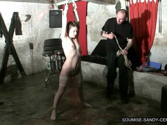 Tied bondage fuck bdsm slave soumise sandy libertine mure movies at lingerie-mania.com