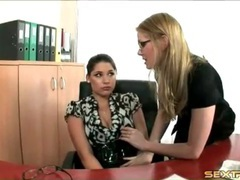 Lesbian secretary seduces her coworker videos