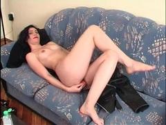 Lipstick girl masturbates with a dildo videos